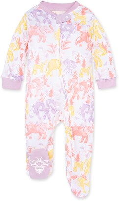 Burt's Bees Ello Elephant Organic Baby Zip Front Loose Fit Footed Pajamas