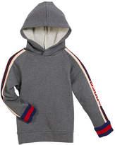 Gucci Cotton Felted Jersey Hoodie w/ Logo Jacquard Trim, Size 4-12