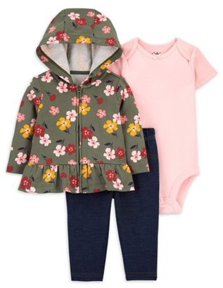 Child of Mine by Carter's Baby Girl Floral Cardigan, Bodysuit & Pants, 3pc Outfit Set