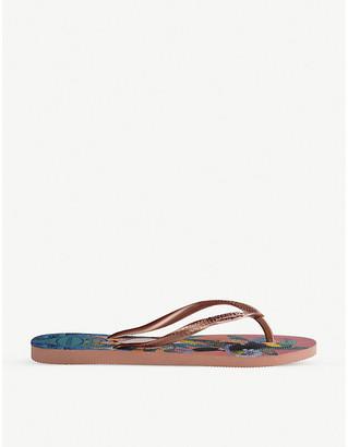 Havaianas Slim tropical-print rubber flip-flops