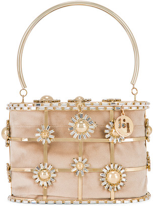Rosantica Holli Flower Bomb Bag in Gold With Crystals | FWRD