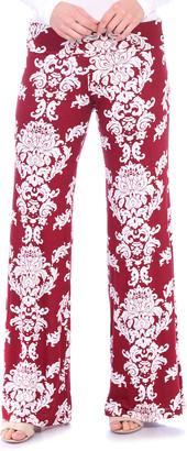 Brooke & Emma Women's Casual Pants Burgundy - Burgundy Damask Palazzo Pants - Women & Plus
