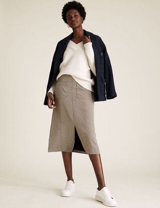 Marks and Spencer Checked Split Front Midi A-Line Skirt