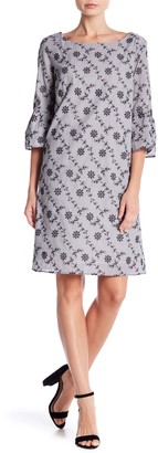 Jones New York Bell Sleeve Embroidered Print Dress