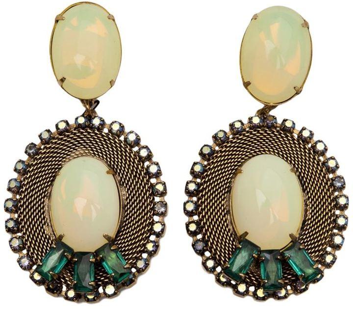 Nicole Romano 'Lacerta' oval clip-on earrings