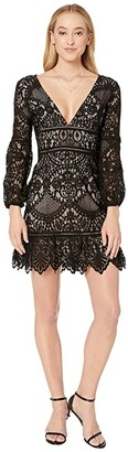 BB Dakota That's Deep Balloon Sleeve Lace Dress with Contrast Lining (Black) Women's Dress
