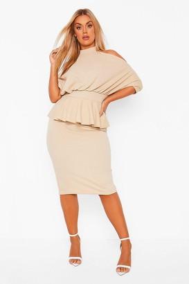 boohoo Plus Open Shoulder Peplum Midi Dress