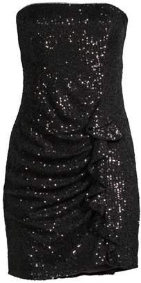 Parker Black Aurelia Sequin Side Ruffle Strapless Sheath Dress