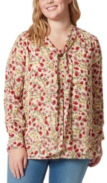 Jessica Simpson Trendy Plus Size Tie-Neck Printed Blouse