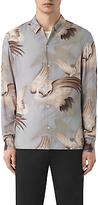 Allsaints Allsaints Wader Japanese Print Slim Fit Shirt, Chrome Grey
