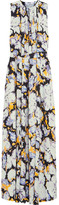MSGM Belted Printed Silk Gown - Sky blue