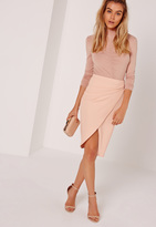 Missguided Asymmetric Ruched Side Midi Skirt Nude