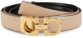Salvatore Ferragamo Double Gancini Reversible Leather Belt