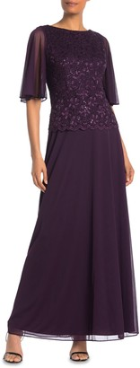 Onyx Nite Floral Lace Sequin Bodice Gown (Regular & Plus Size)