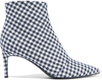 Rag & Bone Beha Gingham Cotton And Linen-blend Ankle Boots
