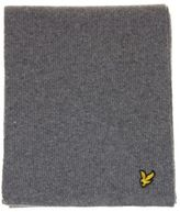 Lyle & Scott New Mens Grey Racked Rib Lambswool Scarf Scarves
