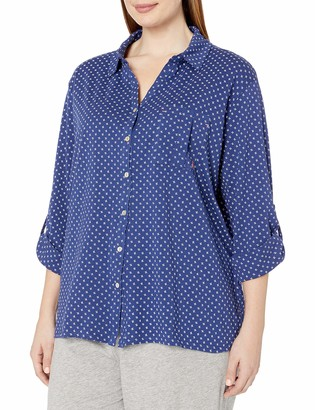 Nautica Women's Plus Size Cotton Knit 3/4 Sleeve Top