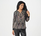 Bob Mackie Tribal Feather Print Woven Top