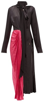 Marni Necktie Asymmetric Satin Midi Dress - Black Multi