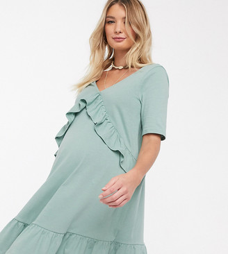 ASOS DESIGN Maternity Exclusive v front frill seam smock dress in sage
