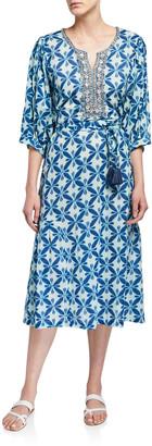 Bella Tu Marni Printed 3/4-Sleeve Midi Dress with Beaded Placket