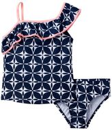 Carter's Girls 4-6x Asymmetrical Patterned Tankini Top & Bottoms Swimsuit Set