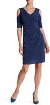 Maggy London Cold Shoulder Solid Denim Jersey Dress