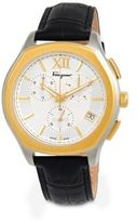 Salvatore Ferragamo Lungarno Chrono Stainless Steel Leather Strap Watch