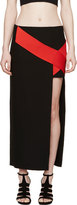 Versace Black & Red Silk Cross Band Skirt