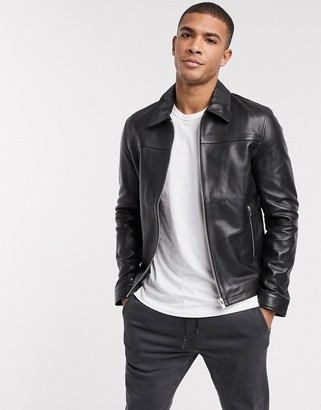 Barneys New York leather jacket with collar detail and silver trims
