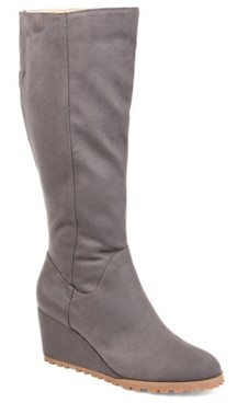 Journee Collection Parker Wide Calf Wedge Boot