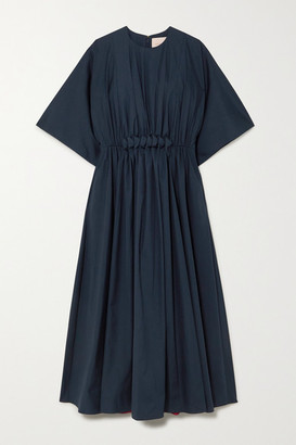 Roksanda Manu Gathered Cotton-poplin Midi Dress