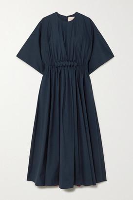 Roksanda Manu Gathered Cotton-poplin Midi Dress - Navy