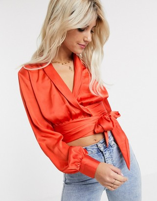 Influence satin wrap front blouse in rust