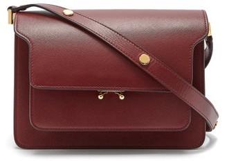 Marni Trunk Medium Saffiano-leather Shoulder Bag - Burgundy