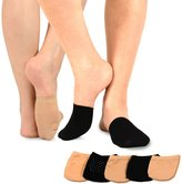 TeeHee Socks TeeHee Womens Seamless Toe Topper Liner Socks 5-Pack with Non-Skid Bottom (Pale )
