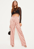 Missguided Pink Paperbag Tie Waist Satin Wide Leg Trousers