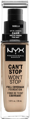 NYX Can'T Stop Won'T Stop 24 Hour Foundation 30Ml Vanilla (Light, Neutral)