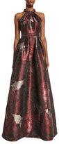 Carmen Marc Valvo Sleeveless Abstract Floral Ball Gown, Cinnamon