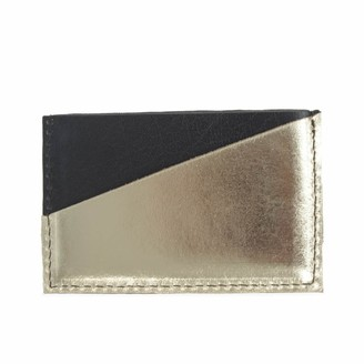 Diagonal Black and Gold Leather Card Holder