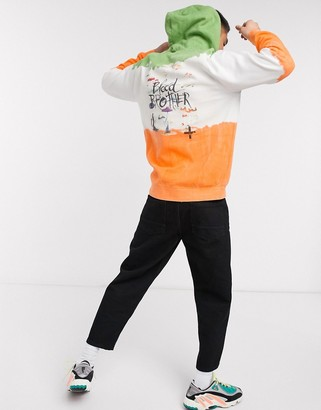 Blood Brother printed tie dye hoodie in khaki multi