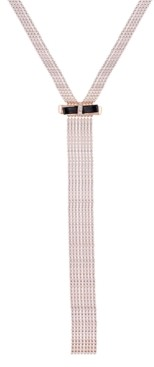 """GUESS Gold-Tone Crystal & Bow Wide Lariat Necklace, 24"""" + 2"""" extender"""