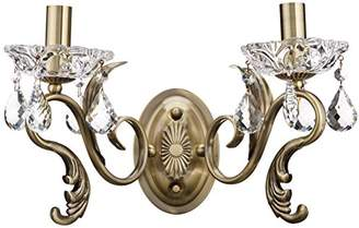 Antique Baroque Royal Sconce/Wall Lamp Gold Metal Frame with Floral Ornament, Gold Round Crystals excl. 1 Bulb x E27 60W