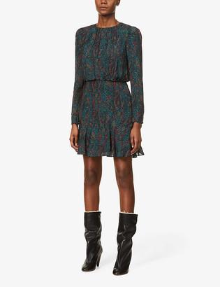 Reiss Renee snakeskin-print jacquard mini dress