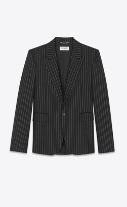 Saint Laurent Blazer Jacket Tailored Jacket In Lame Tennis Striped Wool Black 34