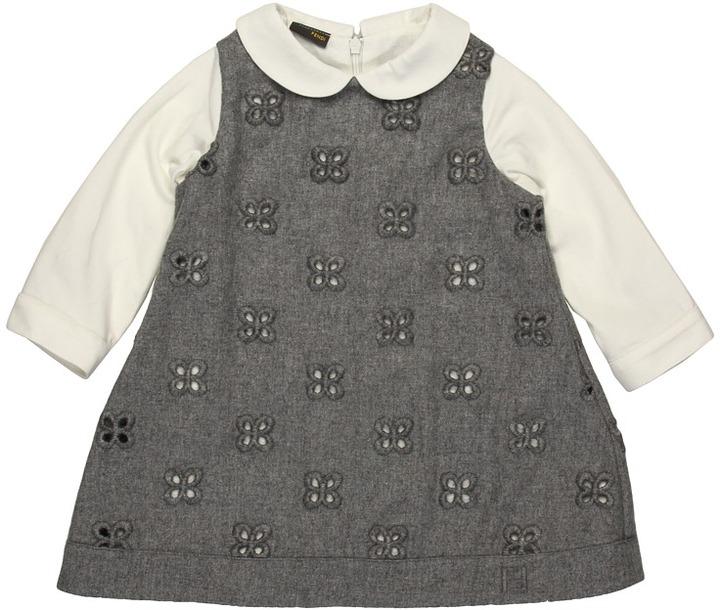 Fendi Baby Eyelit Dress (Infant/Toddler) (Grey) - Apparel