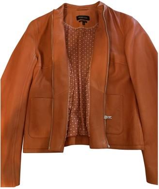Massimo Dutti Orange Leather Jacket for Women