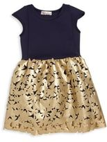 Halabaloo Toddler's & Little Girl's Metallic Floral Dress