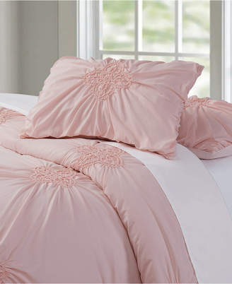 Christian Siriano Georgia Rouched 3 Piece Blush Full/Queen Duvet Cover Set Bedding