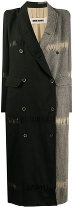 UMA WANG Two-Tone Double-Breasted Coat